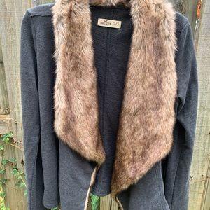 Hollister Faux Fur Sweater/Cardigan